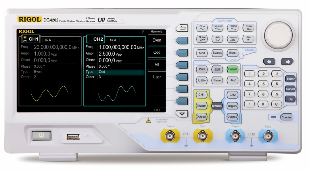 Rigol DG4202 dual-channel 200 MHz arbitrary function generator