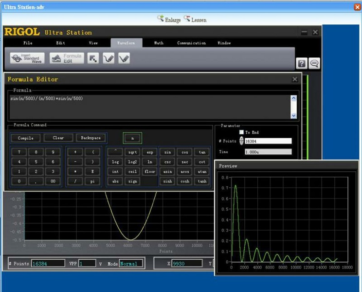 Rigol Ultra Station Advanced wave generation software