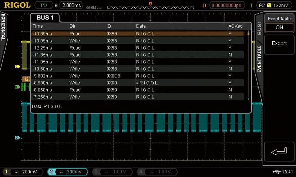 Rigol DS7000-AUDIO serial bus trigger and analysis (I2S) Protocol option