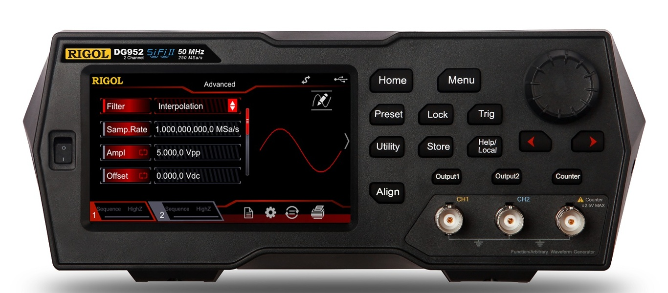 Rigol DG952 Two-channel waveform generator, with 50 MHz bandwidth, 250 MSa/s and 16 Mpts memory