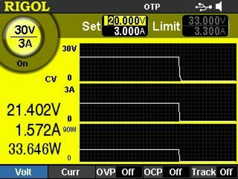 Rigol DP832A Programmable DC Power Supply with 3 outputs 30V/3A, 30V/3A and 5V/3A up to 195W with high resolution