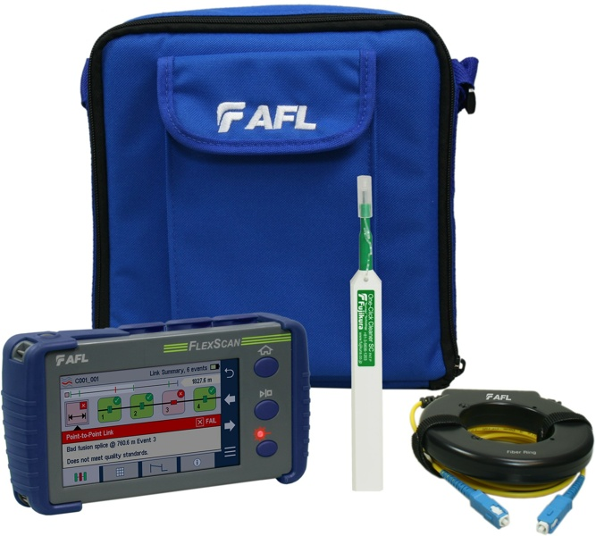 AFL FlexScan FS200-304-Plus OTDR with SmartAuto & LinkMap for Live fiber & PON, delivered with One-click cleaner and 150m fiber ring